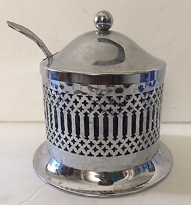 Vintage Chrome Plated Condiment Dish With Spoon & Cobalt Blue Glass Insert
