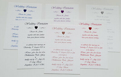 Personalised Glitter Heart Wedding /Evening Invitation various quantities/colour