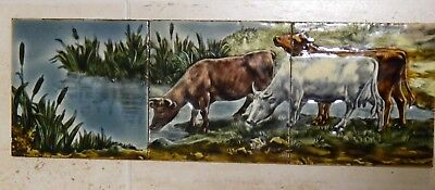 Rare Reclaimed Victorian 3 tile Majolica Panel of Cattle Grazing