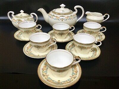 Aynsley Henley Tea Set For Six Persons Green Backstamp