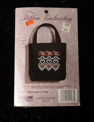 "Janlynn Ribbon Embroidery White Lace Lil' 5"" Tote Bag Kit HEARTS #00-163 ~ NEW"