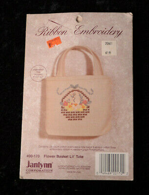 "Janlynn Ribbon Embroidery FLOWER BASKET 5"" Tote Bag Kit #00-170 Beige ~ NEW NIP"