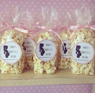 X75 Filled Ready To Pop Popcorn Favour bags/cones favours baby Shower Game Gift
