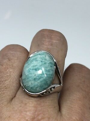 Antique Deco Genuine Blue Amazonite  Vintage 925 Sterling Silver Size 7 Ring