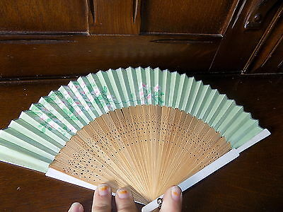 Collectable vintage green oriental flower  painted bamboo folding hand fan