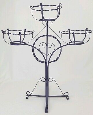 vintage wrought iron plant stand pot holder 3 tier purple bohemian Mid-Century