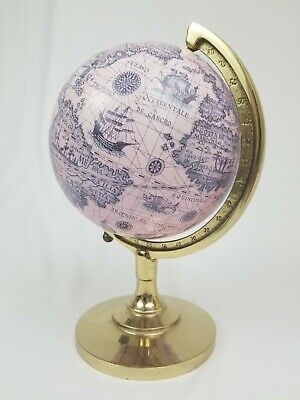 Vintage nautical brass world globe world map Decorative Crafts Inc.