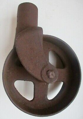 Large Heavy As Is Rusty Wont Turn Cast Iron Cart Wheel Caster Rustic Steampunk