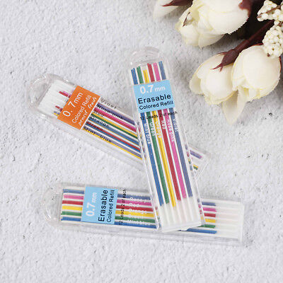 3 Boxes 0.7mm Colored Mechanical Pencil Refill Lead Erasable Student StatioBLUS