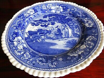 Early Staffordshite Transfer Print Blue and White Plate Depicting Doctor Syntax