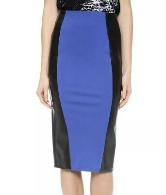 30387796cb 5TH MERCER PENCIL Skirt Jersey Blue and faux black leather Size 0 ...