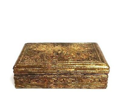 Antique Burmese Wooden Gold Lacquer Hand Carved Box