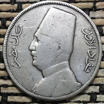1929,Egyptian Old Silver Islamic Coin,King Fouad,Fuad,10 Piastres,Qirsh,Egypt.