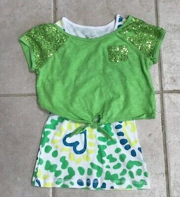 bba8785dca3 Justice Girls Lime Green Sparkly Crop Top W/White & Green Tank Top Sz 8