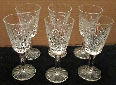 Six Cut & Blown Waterford Ireland Irish Crystal Sherry Glasses Clare Pattern