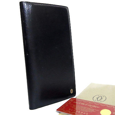 Authentic Cartier Paris Logo Black Leather Agenda Cover Day planner Vintage Spai