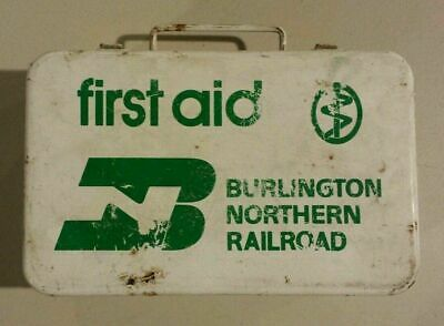 Vintage Burlington Northern Railroad First Aid Kit Metal Box EMPTY