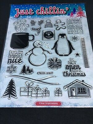 Just Chillin Christmas Winter clear stamp set - snowman scene trees cottage etc