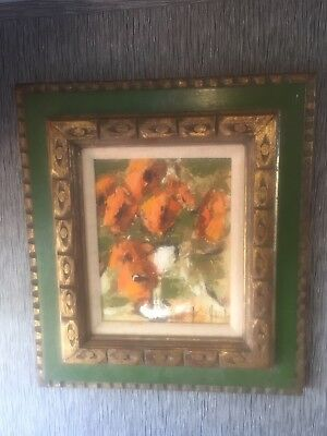 Vintage Original Oil Painting Impressionist Floral by Jean Johnston Framed 1970'