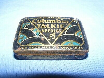 Columbia Gramophone Tin Talkie Needles Vintage Hinged Tin