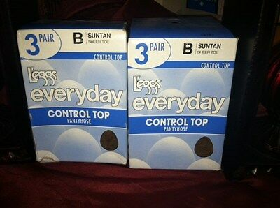 Leggs (2 box lot) 6 Pair Everyday Pantyhose Control Top Sheer Toe Size B SUNTAN