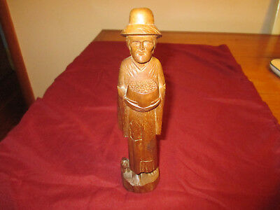 """Vintage Man & Dog Figure Hand Carved Wood 8.5"""" Tall From Ecuador Very Nice Piece"""