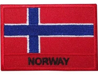 Norway Norwegian patch bag badge NEW country flag red rectangle iron on travel