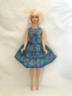 Vintage Barbie Clone Doll Clothes Homemade ? Blue Print Dress