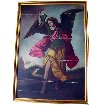 Cuzco School oil painting of the Archangel Zadkiel