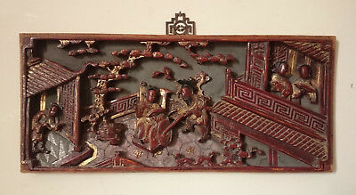19TH C. ANTIQUE CHINESE CARVED WOODEN LACQUERED GILT FURNITURE PANEL c. 1880