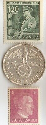 -*silver -5 mark(.900%)- WW2  SILVER EAGLE coin and  STAMPS