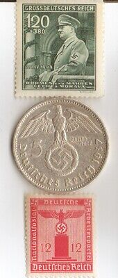 -5 mark(.900%)- WW2  SILVER EAGLE coin and  STAMPS