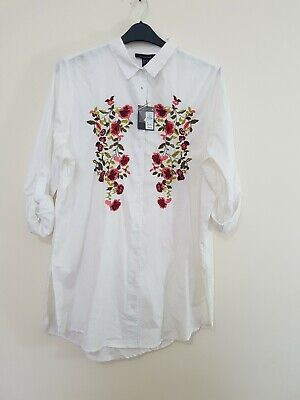0e303e298 ATMOSPHERE WHITE /RED Embroidered Floral Shirt Dress Size 18 BNWT ...