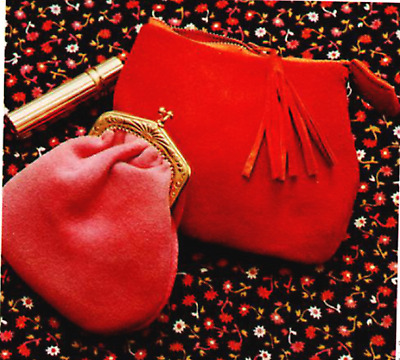 Vintage sewing Pattern Suede Clip Purse and zip clutch bag