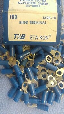 100 Sta-Kon 14RB-10 Ring Terminal Connector Insulated #10 Bolt 18-14  awg T&B