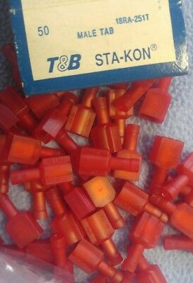 50 Sta-Kon 18RA-251T Male Tab Quick Connector Insulated  22-16 awg T&B
