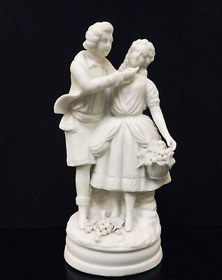 Antique Parian Figurine Of Courting Couple Blanc De Chine Figure
