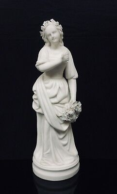 Antique Parian Figure Of Maiden Holding A Floral Wreath