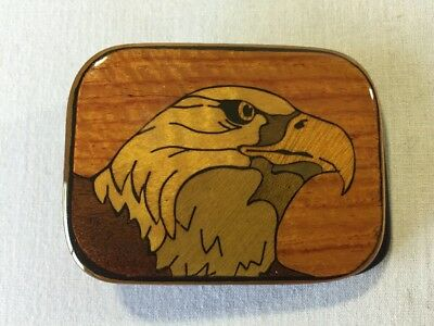 Vintage Brass Belt Buckle Eagle Wood Inlay Marquetry Harmony Metal