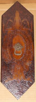 Vtg Repurposed Early 1900's Pyrography Solid Wood Hanging Wall Plaque #1