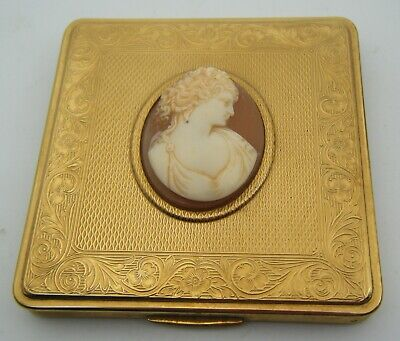 Vintage Nice Quality KIGU Lady's Powder Compact With Celluloid CAMEO Lid Detail.
