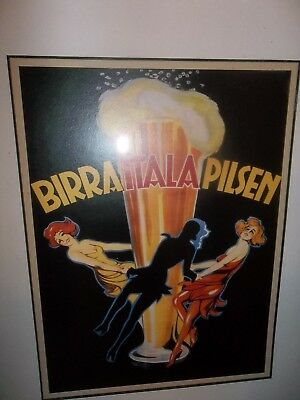Framed matted Advertisement Poster Print Birra Italia Pilsen