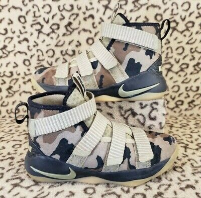 d7d1872f10255 Nike Lebron Soldier Xi Kids Youth Shoes Size 1.5Y Neutral Olive Camo 918368  200