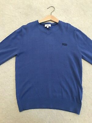 Ln Boys Blue Hugo Boss Knit Jumper Age 10 Hardly Worn