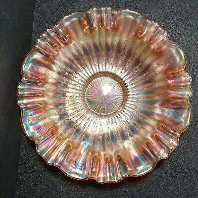 Vintage Northwood Bowl Carnival Glass  Ribbon Edge Stippled Rays Marigold Color