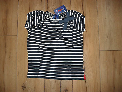 Little Linens Girls Navy Stripe 100% Cotton Bow Detail Top Age 6-7 Years New