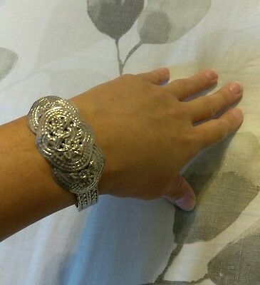 Repousse Floral Retro Modern Sterling Silver Intricate Woven Thailand Bracelet