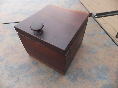 Antique Vintage Pipe Tobacco Humidor Copper Lined Mahogany Heavy Wood Box W Top