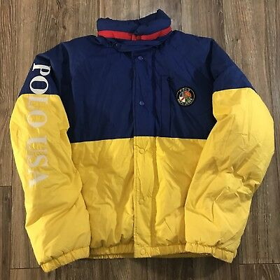 7878b114 VTG Ralph Lauren Polo USA Cookie Patch Colorblock Spellout Down Puffer  Jacket M