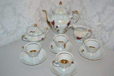 Walbrzych White Marble Iridescent Gold Rose Coffee Tea Set